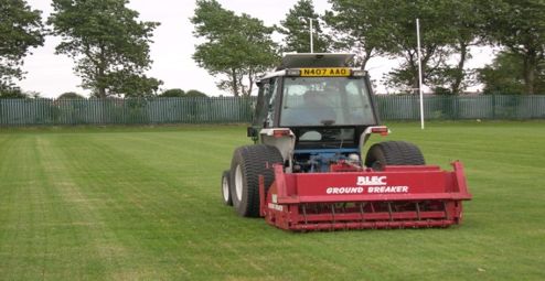 Linear Aeration on a football pitch