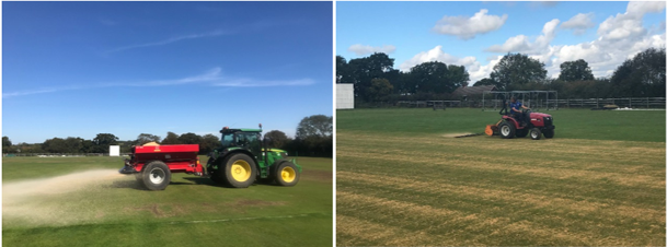 Top dressing a football pitch