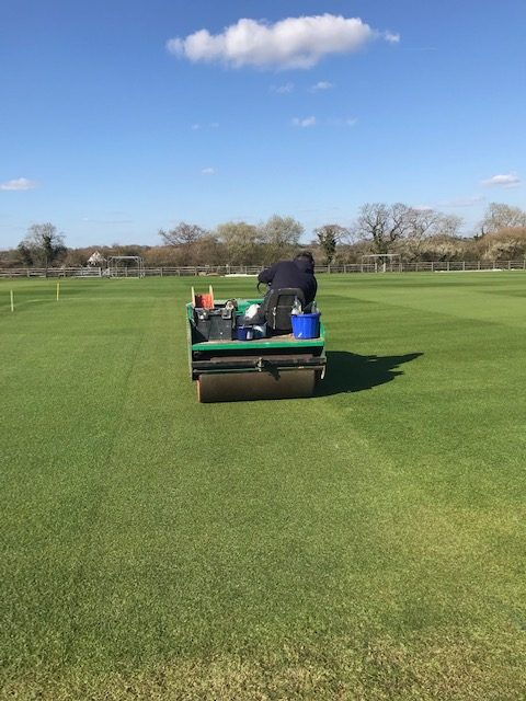 Cricket pitch rolling