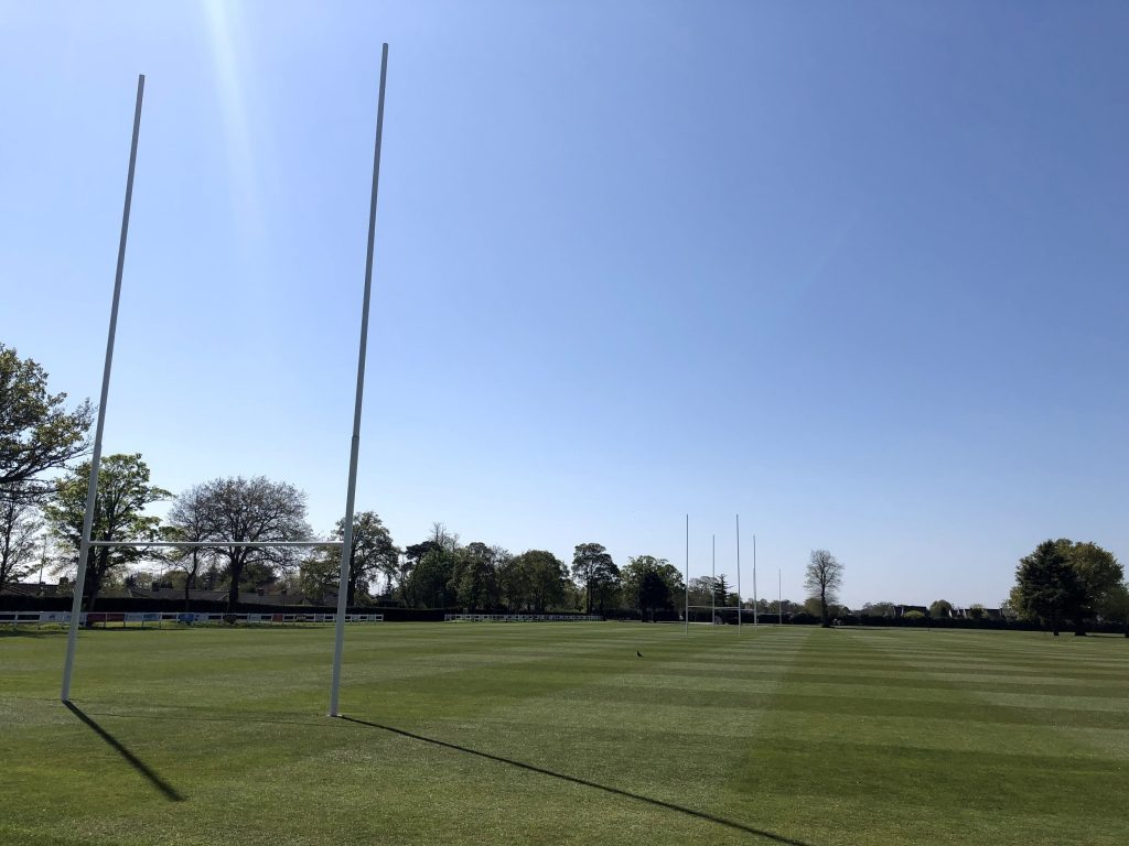 Rugby pitch cut in straight lines