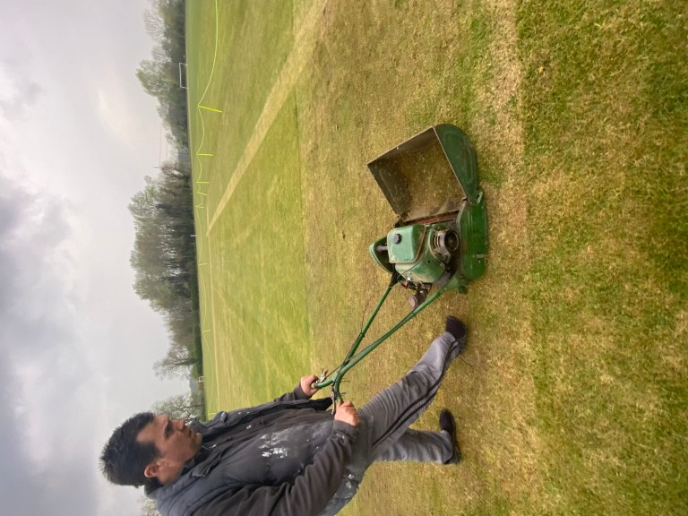 mowing the pitch