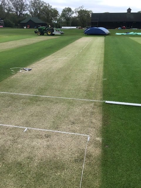 marking out of a cricket pitch