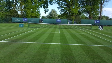 freshly cut tennis court